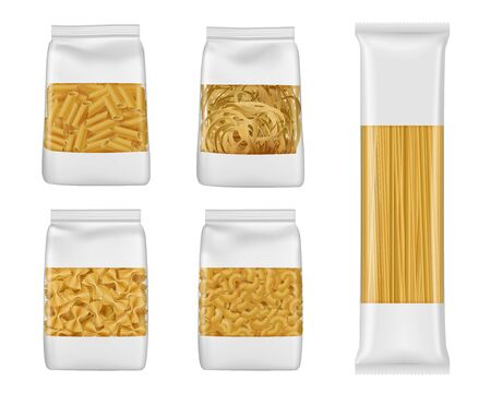 Illustration for Pasta and Italian macaroni food package 3d vector mockups of foil and plastic bags with windows. Realistic templates of spaghetti, penne and farfalle, tagliatelle and elbow vermicelli packaging - Royalty Free Image