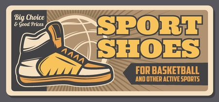 Ilustración de Basketball sport shoes and game equipment vector design with ball and player sneakers on orange court. Sport items, sportswear and athletic footwear shop, sporting accessory store retro banner - Imagen libre de derechos