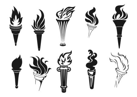 Illustration pour Fire torch vector icons. Vector burning flames, symbols of competition, marathons and rally races, signs of sportive game championship. Monochrome torches with fire or flame - image libre de droit