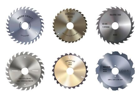 Illustration pour Mechanical circular saw vector blades, wood craft and construction. Round metal blade, carpentry tool. Variety of discs consisting of teeth - image libre de droit