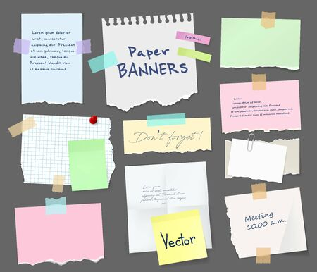 Illustration for Paper sheets of notebook and note pad with torn edges stick on grey background with tape and paperclip. Vector pages with copy space for messages and notes, office and school stationery, memo stickers - Royalty Free Image
