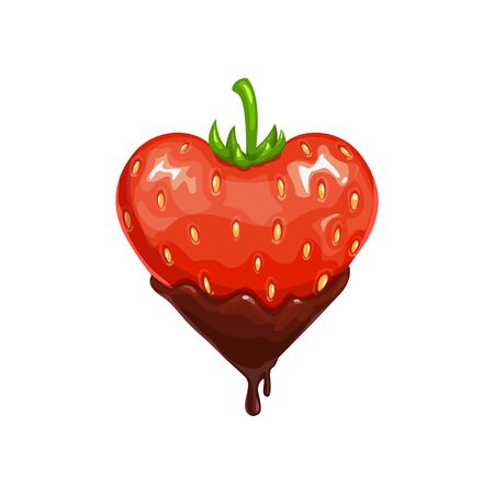 Illustration for Strawberry in chocolate isolated berry. Vector heart shape fruit in choco topping - Royalty Free Image