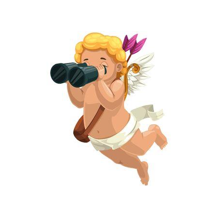 Ilustración de Amur winged boy in diaper isolated Cupid. Vector outline Eros with binoculars searching lovers - Imagen libre de derechos