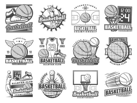 Ilustración de Vector basketball sport and streetball game tournament symbols of champion cup game, ball with wings and goal scoreboard. Basketball championship, club and team league badges - Imagen libre de derechos