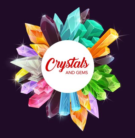 Illustration for Crystals, gem stones and mineral rocks with precious gemstones of diamond, amethyst and sapphire vector design. Pink, green and blue quartz, opal, glass, emerald and citrine, topaz, tourmaline frame - Royalty Free Image