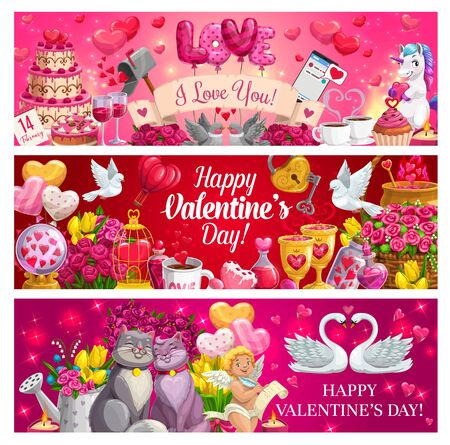 Illustration for Romantic love gifts of Valentines Day vector banners. Hearts, flower bouquets and chocolate, Cupid, february calendar and message, red balloons, loving couples of cat, dove and swan, key and padlock - Royalty Free Image