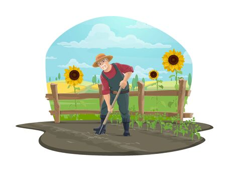 Illustration for Farmer working on farm vector icon of agriculture design. Gardener digging soil with shovel or spade in vegetable garden, tomato seedlings, sunflowers, wooden fence and wheat fields - Royalty Free Image