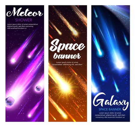 Ilustración de Space meteor shower with comets, stars and asteroids falling in night sky. Vector starry galaxy and universe planet banners with shooting fireballs, meteorite with bright speed trails, sparkles - Imagen libre de derechos