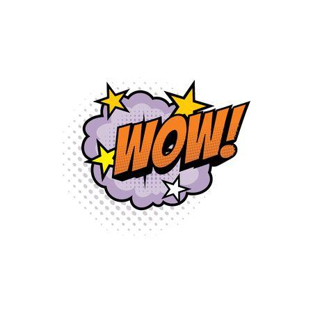 Ilustración de Sound blast, Wow bubble chat, comic book cartoon icon. Vector Wow exclamation sound cloud explosion cloud and stars - Imagen libre de derechos
