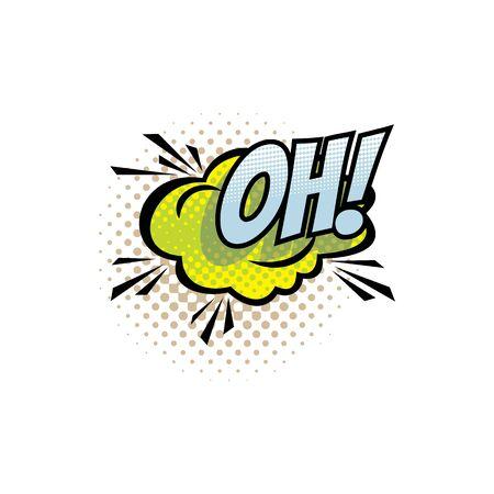 Ilustración de Sound blast, Oh bubble chat, comic book cartoon icon. Vector Oh exclamation sound cloud explosion, superhero comic book art - Imagen libre de derechos
