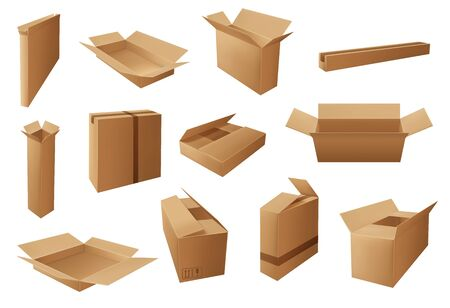 Illustration for Delivery packages 3d vector design of brown cardboard boxes and carton parcels. Cargo shipping, warehouse storage and moving packs, open and closed containers with packaging marks and packing tapes - Royalty Free Image