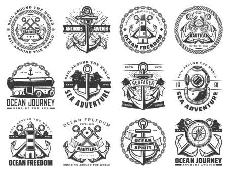 Illustration for Navy heraldic badges of ocean journey design on white - Royalty Free Image