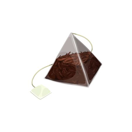 Ilustración de Pyramid teabag with black tea, blank tag isolated mockup. Vector triangular transparent package of herbal Chinese or Ceylon tea, natural organic drink in paper pack with thread or string - Imagen libre de derechos