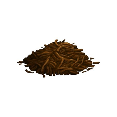 Ilustración de Pile of dry, fermented tea leaves isolated. Vector green, black or herbal tea ingredient, heap of dried tea leaf. Ceylon, Japanese or Chinese spices, matcha, sencha or puer aromatic tea leaves - Imagen libre de derechos