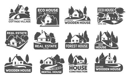 Illustration pour Wooden eco houses, real estate buildings vector icons. Cottage silhouettes with trees and lawn, garden, path or driveway and fence. Emblem or eco design for landscaping service and real estate company - image libre de droit