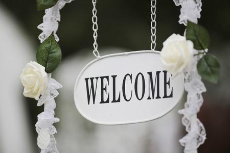 Foto de the event party or wedding reception, focus on welcome sign - Imagen libre de derechos