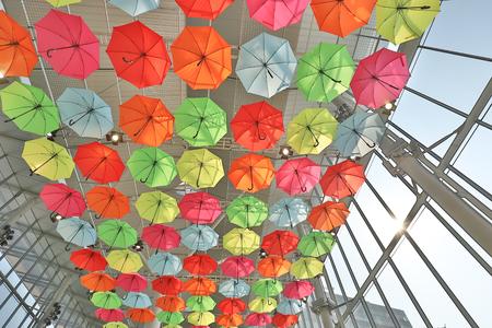Foto de many colorful umbrellas in street decoration. - Imagen libre de derechos