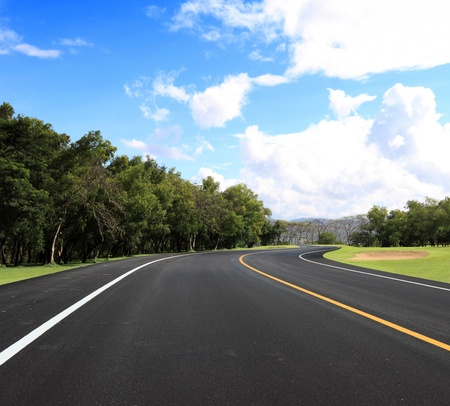 new curve road and blue sky