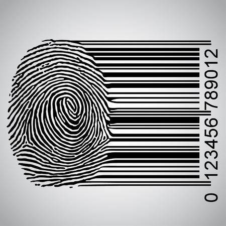 Illustration pour Fingerprint becoming barcode illustration - image libre de droit