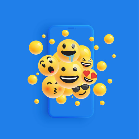 Illustrazione per 3D and different kinds of emoticons with matte smartphone, vector illustartion - Immagini Royalty Free