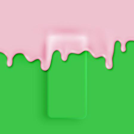 Illustration pour High detailed 3D matte smatphone covered with paint, vector illustration - image libre de droit