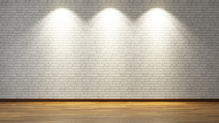 Foto de brick wall under three spot lights for your design - Imagen libre de derechos