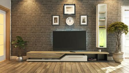 Photo pour tv room, salon or living room with brick wall plant and tv design by sedat seven - image libre de droit