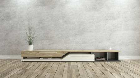 Foto de tv stand with concrete wall and wooden parquet background for design - Imagen libre de derechos