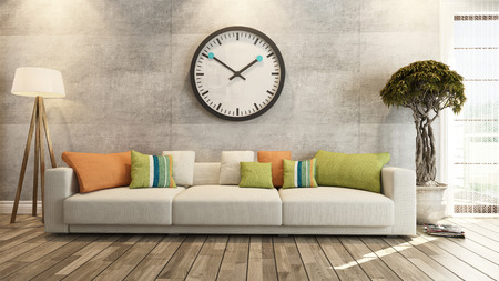 living room or saloon interior design with big wall watch 3d rendering