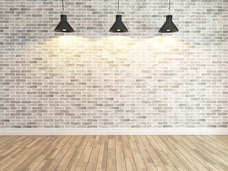 Photo pour Interior white brick wall decoration under three light, interior wall pattern and background - image libre de droit