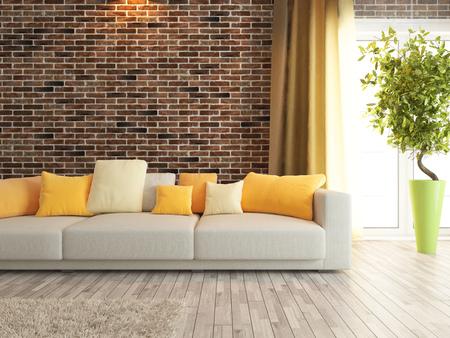 Foto de modern sofa with red brick wall interior design rendering - Imagen libre de derechos