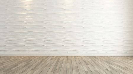 Foto de wave wall decoration with wooden floor background and template - Imagen libre de derechos