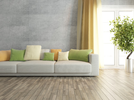 Photo pour concrete wall with sofa interior design - image libre de droit