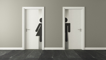 Foto de white restroom doors with wall 3D design and rendering for your project - Imagen libre de derechos