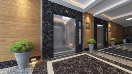 Foto de modern metal elevator design idea 3d rendering. - Imagen libre de derechos