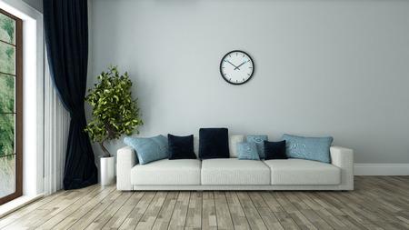 Foto de blue wall living room interior design with seat and watch 3d rendering  - Imagen libre de derechos