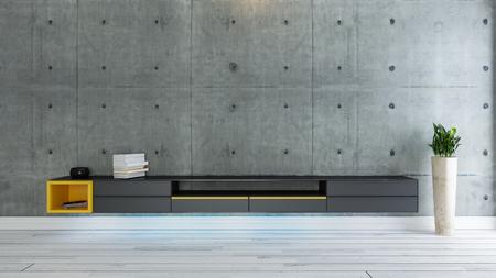 Foto de tv room, salon or living room with covered concrete wall plant and black tv stand design - Imagen libre de derechos