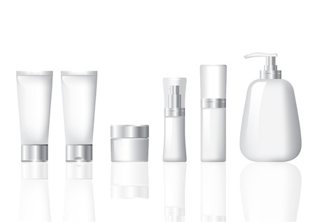 Illustration for Cosmetic Package Mockup Siver and White set - Royalty Free Image