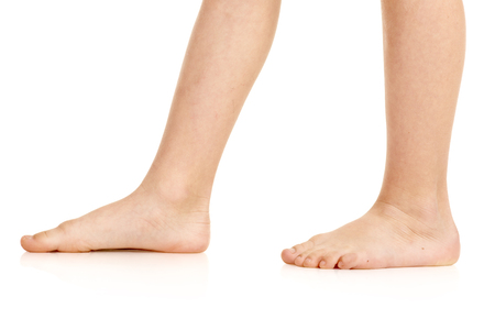 Photo for Side-view of barefoot legs - Royalty Free Image