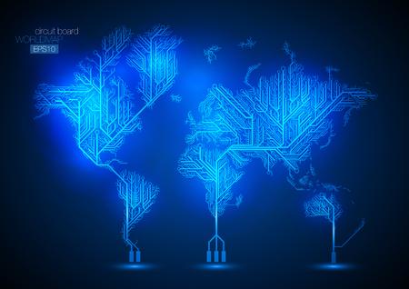 Foto für World map connected by Circuit board lines. - Lizenzfreies Bild