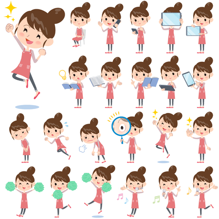 Illustration for Set of various poses of Ballet Bun hair Apron mom 2 - Royalty Free Image