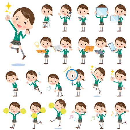 Illustration for Set of various poses of school girl Green Blazer 2 - Royalty Free Image