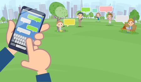 Illustration pour A lot of people enjoying SNS in the park wide size vector image - image libre de droit