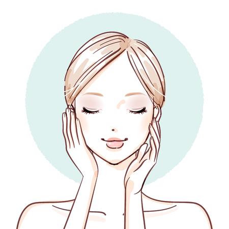 Illustration pour Woman with hands on her cheeks icon. - image libre de droit
