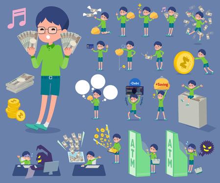 Illustration pour Boy with green clothes and eyeglasses holding money set. - image libre de droit