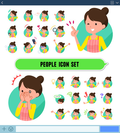 Ilustración de A set of housewife with expresses various emotions on the SNS screen. There are variations of emotions such as joy and sadness. It's vector art so it's easy to edit. - Imagen libre de derechos