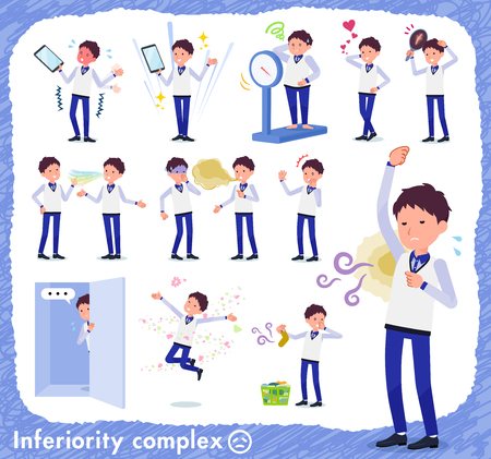 Illustrazione per A set of Store stuff man on inferiority complex.There are actions suffering from smell and appearance.It's vector art so it's easy to edit. - Immagini Royalty Free