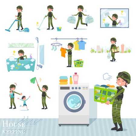 Illustration pour A set of Army women related to housekeeping such as cleaning and laundry.There are various actions such as child rearing.It's vector art so it's easy to edit. - image libre de droit