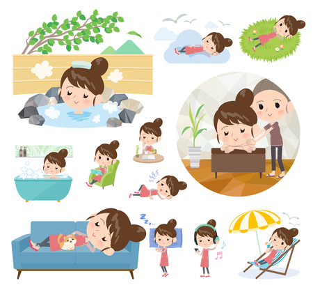 Illustrazione per A set of mom about relaxing.There are actions such as vacation and stress relief.It's vector art so it's easy to edit. - Immagini Royalty Free
