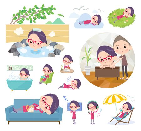 Illustrazione per A set of women about relaxing.There are actions such as vacation and stress relief.It's vector art so it's easy to edit. - Immagini Royalty Free